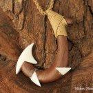 Koa Wood Bone Fish Hook Necklace KOA1115