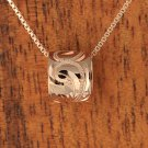 GP1071 Pink Gold Two Ring with Scroll Engraving Pendant (Chain Sold Separately)
