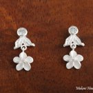 SE54501 Hawaiian Jewelery Solid Silver CZ Leaf Plumeria Earrings