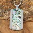 Abalone Shell Stainless Steel Dog Tag Pendant Center Inlaid SLP7301