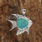 SOP1073 1 Opal CZ Fish Pendant(Chain Sold Separately)