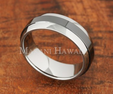 7mm Tungsten BLK Ceramic Double Ring