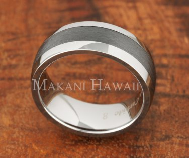 8mm Tungsten BLK Ceramic Brushed Ring