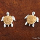 SE22806 Turtle Earrings Two Tone