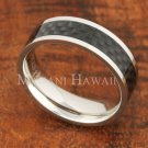 6mm Carbon Fiber Stainless Steel Wedding Ring Flat SLR6002