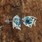 SOE102 Sterling Silver 4 Opal Fish Earrings