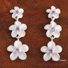 Plumeria with Purple CZ Post Earrings