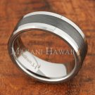 8mm Tungsten Black Cermaic Brushed Ring TUR5055