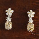 SE27105 8mm Plemeria +Pineapple Hawaiian Sterling Silver Earring Two Tone YG