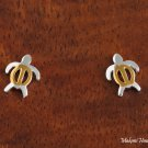 SE24105 Hawaiian Turtle Honu Solid Sterling Silver Earrings (S) Two Tone YG