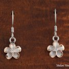 SE53829 Solid Sterling Silver 10mm Rhodium Plumeria Hook Earring Two Tone PG
