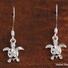 SE23501 4mm Hawaiian Plumeriain(Polish) Honu Sterling Silver Hook Earrings