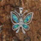 SOP1089 4 Opal CZ Butterfly Pendant