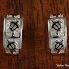 SE36006 Hawaiian Jewelry 3 Honu Half Moon Sterling Silver Earrings 8mm Black
