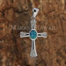SOP1074 2 Opal Cross Pendant (Chain Sold Separately)