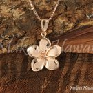 14K Pink Gold Hawaiian Plumeria Pendant 12mm GP3155