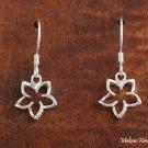 SE27701 Hawaiian Jewelry Solid Silver 10mm Floating Plumeria CZ Hook Earring
