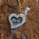 SOP2111 6 Opal Heart Scroll Pendant(Chain Sold Separately)