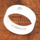 8mm White Ceramic Ring CZ Inlaid TUR5027