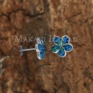 SOE105 12mm Hawaiian Plumeria Sterling Silver Opal Stud Earring