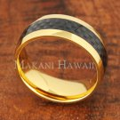 8mm Carbon Fiber Stainless Steel Wedding Ring Oval YG SLR6015
