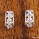 SE28802 Sterling Silver 4 Hawaiian Plumeria Half Moon Earrings Pink CZ
