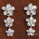 3-Plumeria Rhodium CZ Earrings SE54808