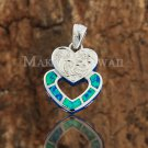 Sterling Silver Blue Opal Hand Made Scroll Engraving Double Heart Pendant SOP2113