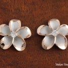 Hawaiian Silver Jewelry 18mm Plumeria Earring SE53259