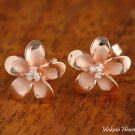 12 mm Pink Gold-Plated Plumeria w/three CZ Post Earrings  SE58409