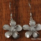 Plumeria with three CZ inlaid Rhodium Hook Earrings