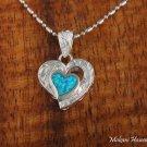 Silver Opal Heart Scroll Engraving Hawaiian Heirloom Pendant SOP2107