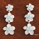 3- Plumeria with Light Blue CZ Post Earrings
