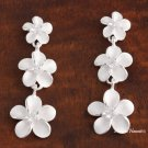3- White Plumeria with CZ Post Earrings