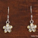 Two-Tone with Solid Silver Rhodium Plumeria Hook Earrings