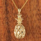 14K Solid Gold Pineapple Pendant