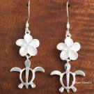 12mm Plumeria-Honu Hook Earring White