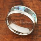 Abalone Shell Stainless Steel Wedding Flat Ring