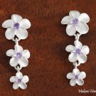 3-Plumeria with Purple CZ Post Earrings