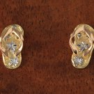 14k Tri-Color Solid Gold Slipper Earrings