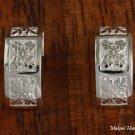 Quilt Engraved Half-Moon Earrings