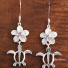 12mm Plumeria-Honu Purple CZ Hook Earring