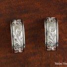 Scroll Engraved with Black Half Moon Earrings