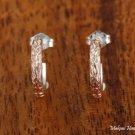 Two-Tone Scroll Half Moon Earrings (Pink)