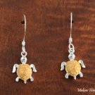 Two-Tone Turtle Hook Earrings