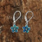 10mm Opal Plumeria Lever Back Earrings
