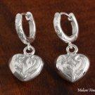 Scroll Engraved Heart Earrings