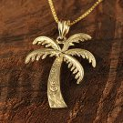 14k Yellow Gold Palm Tree Pendant