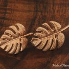 14k Pink Gold Monstera Leaf Earrings