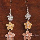 Tri-Plumeria Tri-Color Hook Earrings